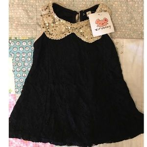Girls black and gold Lace Dress